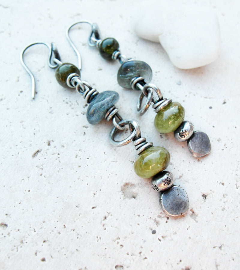 Beaded Gemstone Earrings. Handmade Boho Jewelry.