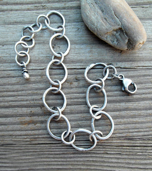 Pure Silver Chain Bracelet. Handmade Designer Jewelry.