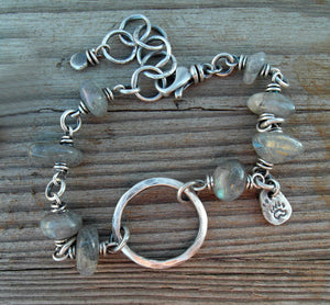 Silver Beaded Gemstone Bracelet. Silver Ring. Bear Claw. Silver Nugget.