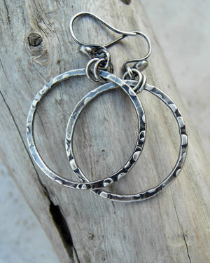 Pure silver hoop earrings. Handmade silver jewelry. Designer earrings by Cindy's art & soul Jewelry.