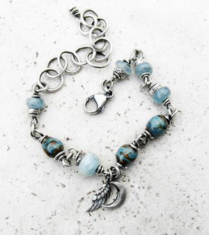 Cresent Moon. Angel Wing. Beaded Chain Bracelet. Aquamarine. Blue Kyanite Gemstones and Porcelain Fine Silver Boho Style. 10245