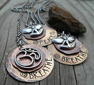 Custom Hand Stamped Personalized Jewelry. Sterling Silver Ohm Faerie