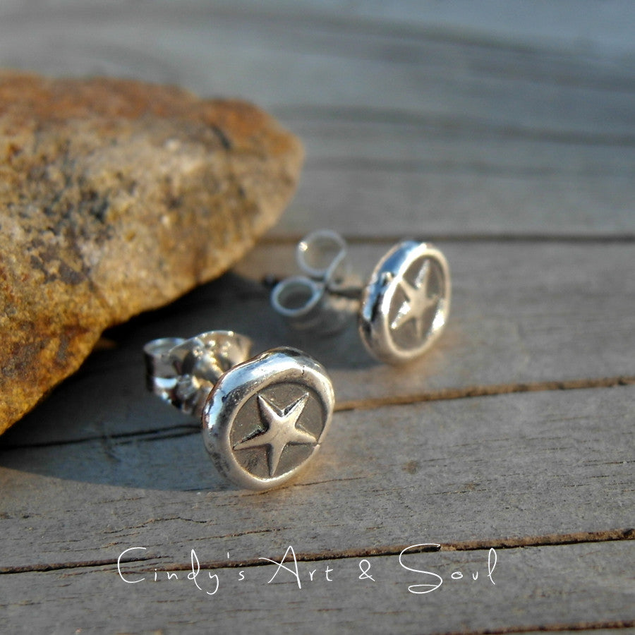 Silver Star Stud Post Earrings. Pure Silver Post Earrings.