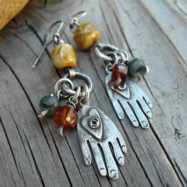 Milagros Hand Charm Earrings Folk Art