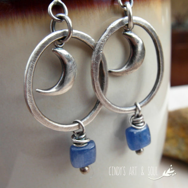 Crescent Moon Hoop Earrings Kyanite Gemstones