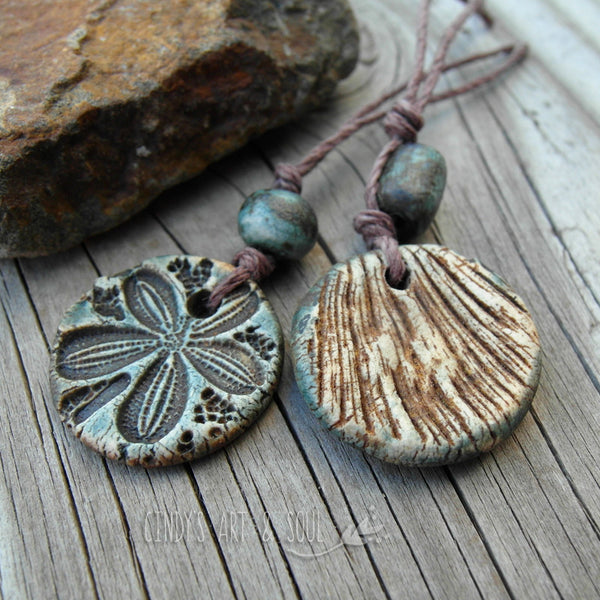 Beads Set 9 Sea Shell Pendant Beads Handmade Ceramic
