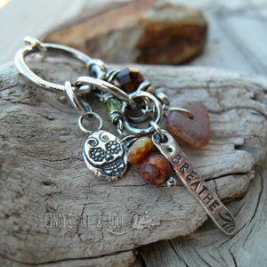 Skull Ring Charm Necklace Sea Glass Gemstone