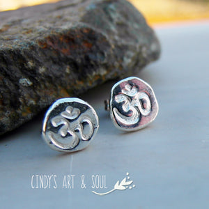 Om Earrings Shiny Polished with no patina Cindy's Art & Soul