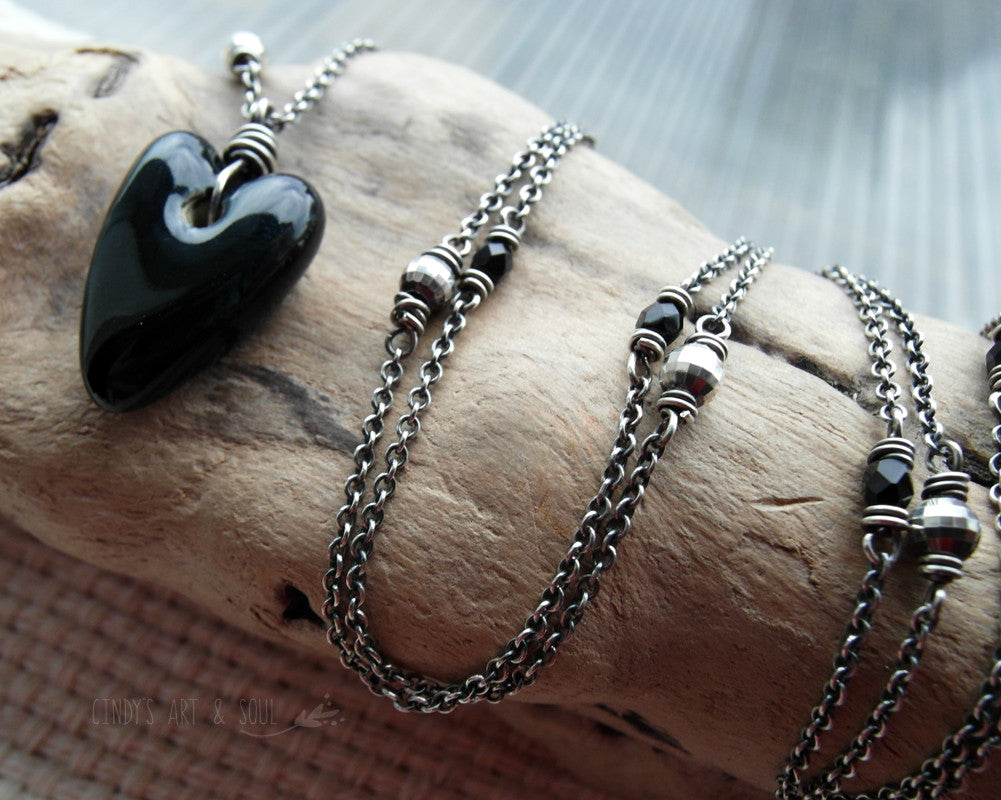 Black Heart Necklace Long Beaded Chain