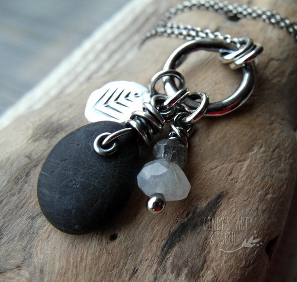 Black River Rock Necklace with Moonstone