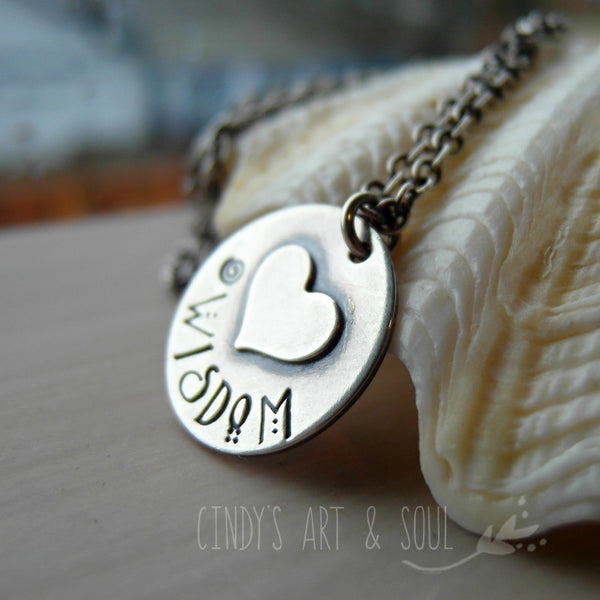 Hand Stamped Silver Heart Necklace