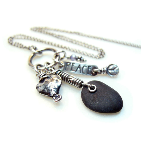 Peace Love + Rock Necklace Black Stone