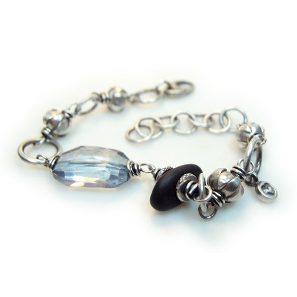 Peace Love Rock Blue Topaz Stone Bracelet Silver