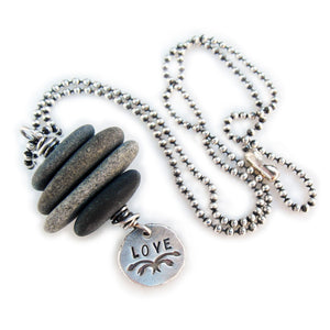 River Rock Love Necklace Inspirational Silver