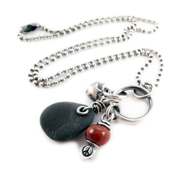 Peace Love + Rock Necklace Red and Silver 9