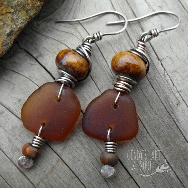 Ceramic Bead Earrings with Found Sea Glass