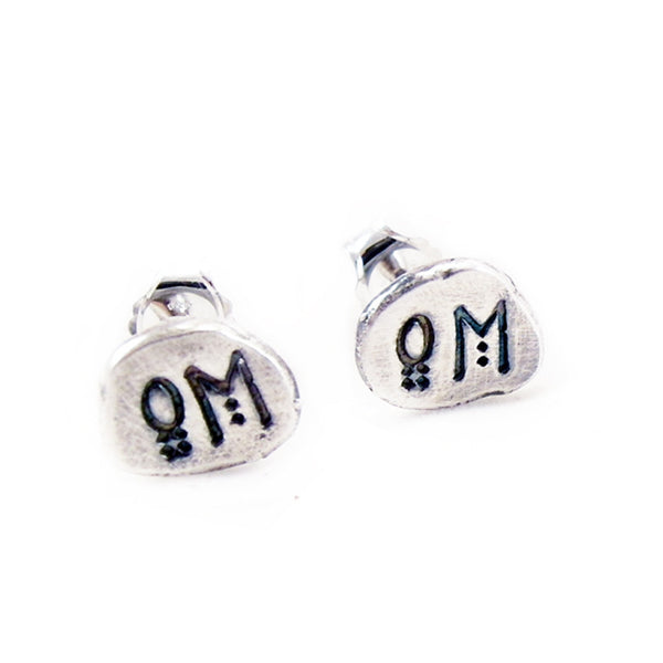 Om Post Earrings 999 Fine Silver Nugget