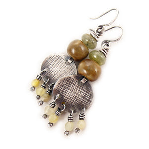 Green Garnet Gemstone Earrings Earth-Tones