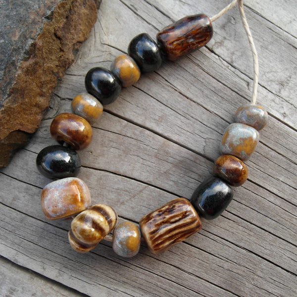 Bead Set 56 Amber Brown and Buckwheat