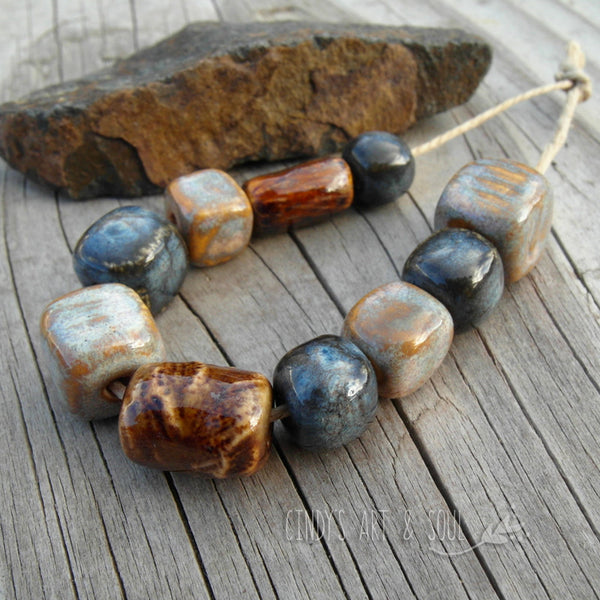Bead Set 55 Blue Topaz and Brown Mixed Set