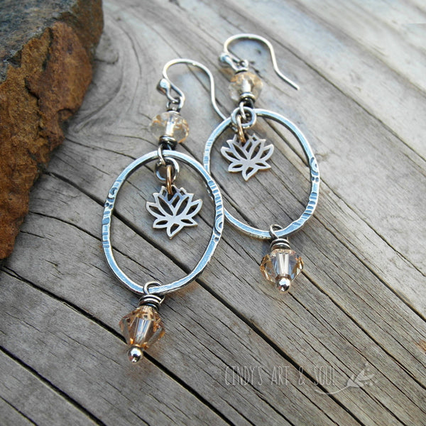Crystal Topaz Lotus Earrings Silver Hoops