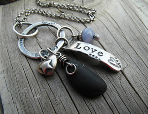 Silver River Rock Necklace with Purple Agate. Choose Love. Cindy's Art & Soul Jewelry