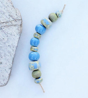 handmade ceramic beads. art beads.
