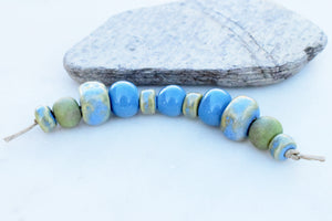 Sky Blue + Chartreuse Bead Set. Handmade Ceramic Beads. Blue Green Pottery Beads. Handcrafted by Cindy's Art and Soul