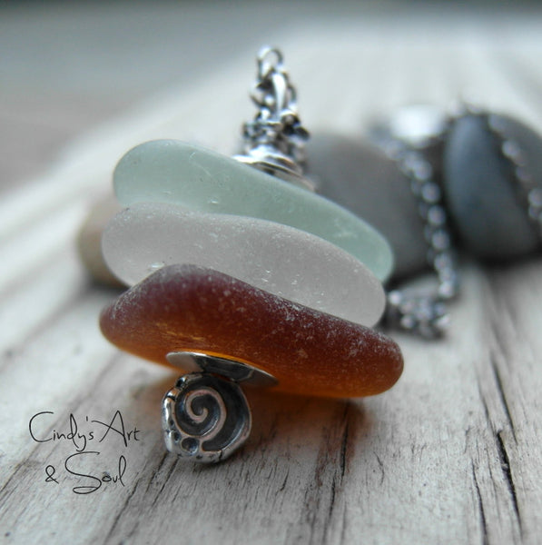 Beach Glass Necklace. Sterling Silver Chain. Handcrafted Sea Glass Jewelry.
