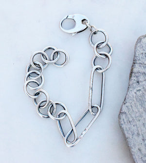 Fine Silver Handcrafted Chain Braclet.