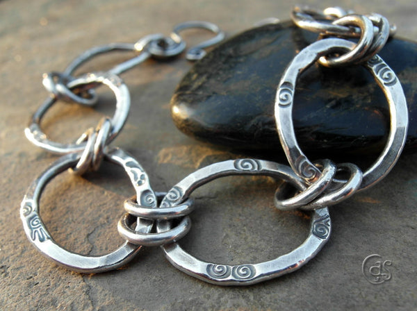 Solid Silver Chain Bracelet Handcrafted Thick Link Pure Silver 83215