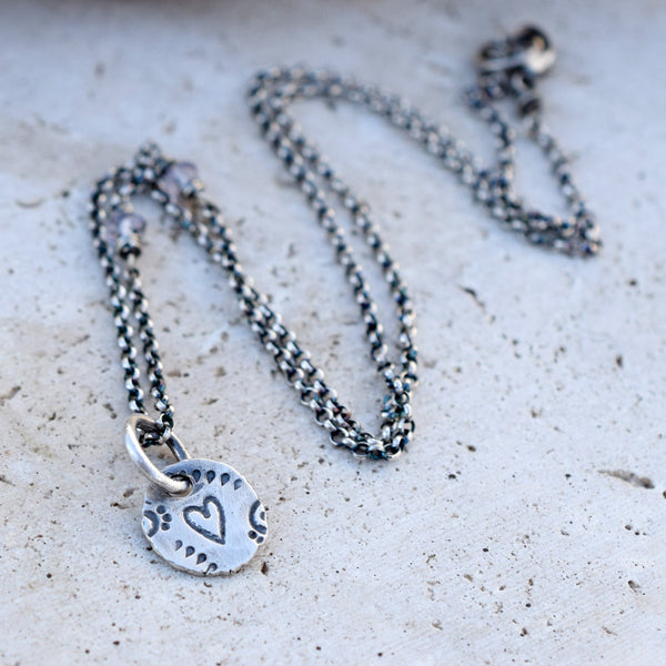 Silver Nugget Charm Necklace. Blue Gemstone. Heart. 21317