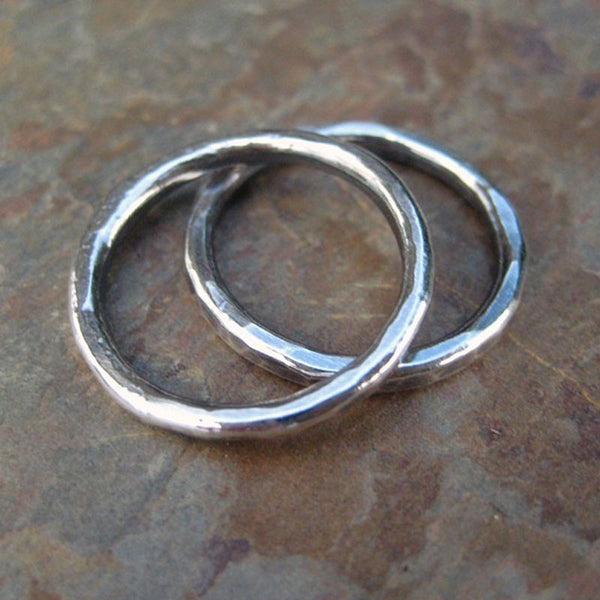 Stacking Rings. Pure Silver. Hammered Silver Rings. Silver Ring.