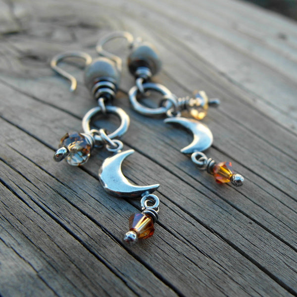 Crescent Moon Earrings Swarovski Crystal Dangles 92616