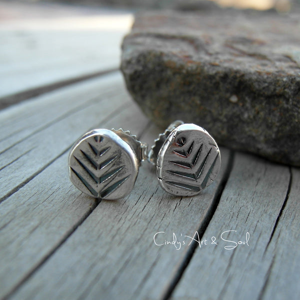 Silver Nugget Post Earrings. Tree Hugger Jewelry. 11178