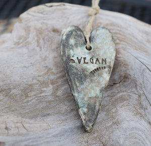 Handmade Ceramic Ornament. Vegan for the animals. Handcrafted porcelain Heart.