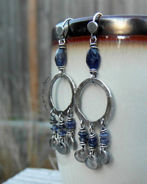 Blue Iolite Gemstone Hoops. Silver Chandelier Earrings. 11174