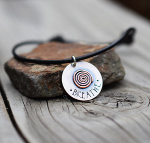 Personalized Spiral Charm Hand Stamped Silver