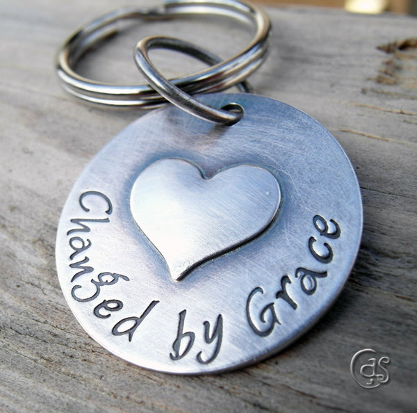 Personalized Heart Key Charm