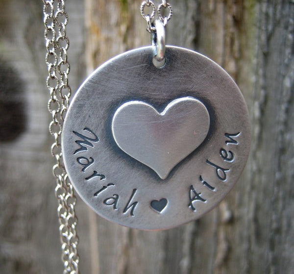 Personalized Necklace. Puffy Heart Charm. Sterling Silver.