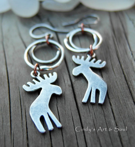 Moose Earrings Hoops Winter Lodge Jewelry