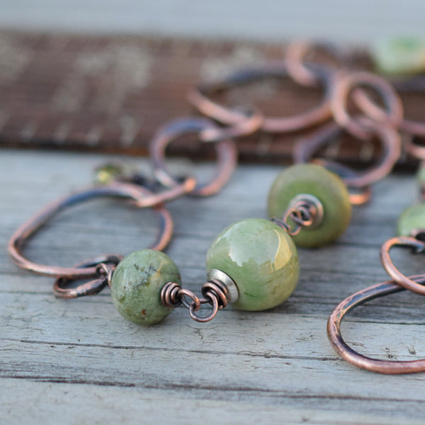 Beaded Chain Necklace. African Opal, Moss Green Gemstone. 10216