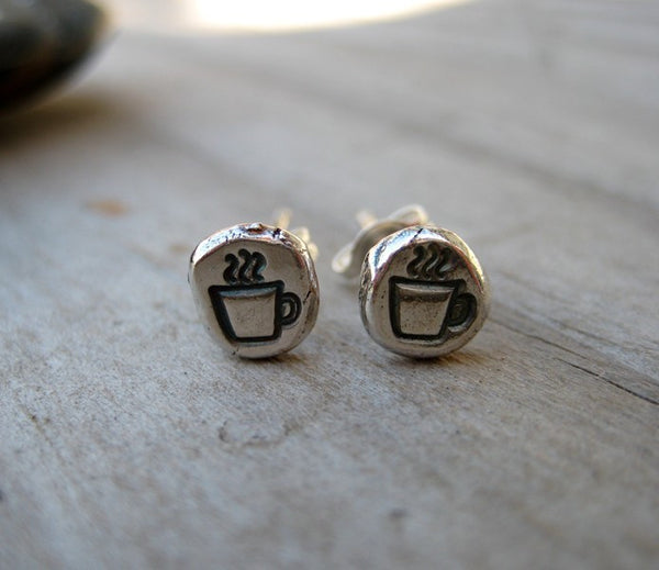 Coffee Cup Earrings Sterling Silver Post Coffee Mug Stud