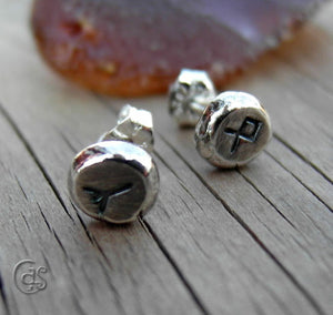 Rune Post Earrings Personalized Silver Nugget Runic Earrings 83161
