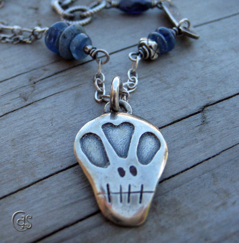 Necklace Sterling Silver Skull Gemstone Blue Kyanite Chain