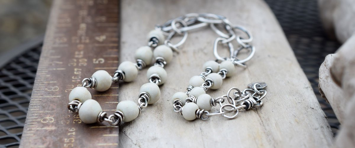 Creamy Alabaster Porcelain Beads with Brushed Silver Handmade Chain
