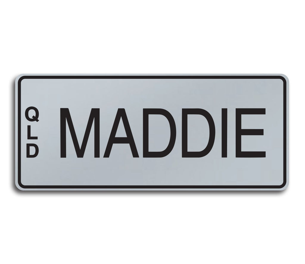 SMOOTH SILVER - BLACK WRITING | Custom Engraved Novelty Number Plate