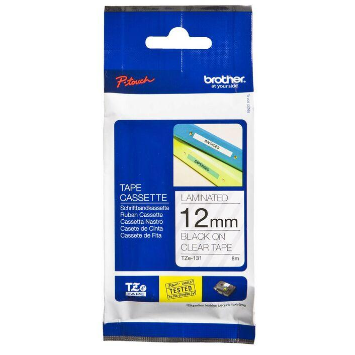 Brother TZe-131 Laminated Tape 12mm x 8m Black on Clear