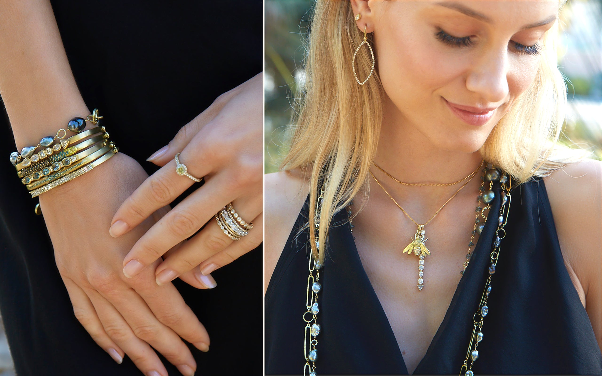 Model wearing our 18-piece yellow gold jewelry collection Beeing There; phone 323-404-2959 if you need shopping assistance.