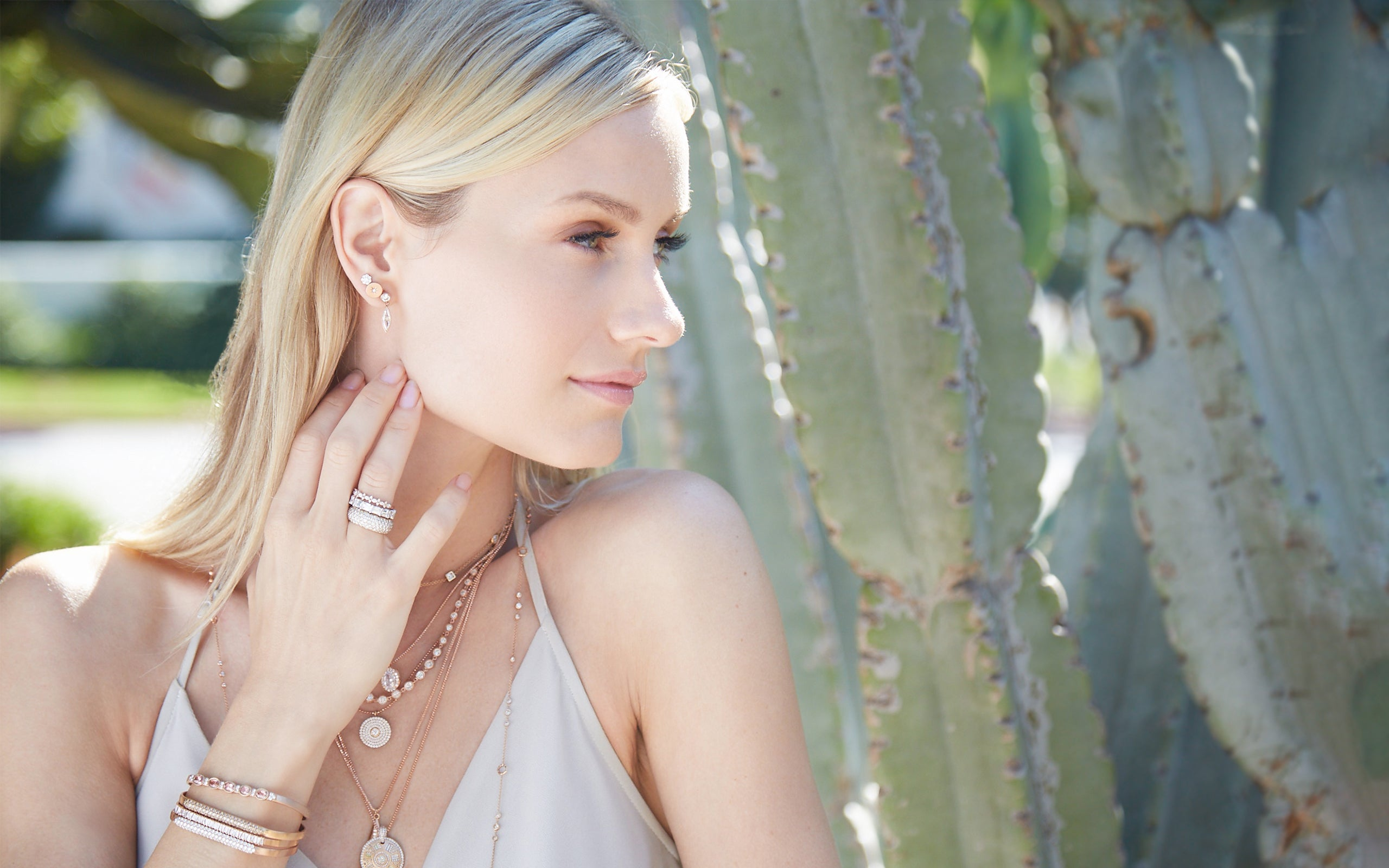 Model wearing our 17-piece rose gold jewelry collection Al Fresco; phone 323-404-2959 if you need shopping assistance.